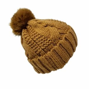 Wool Blend Cable Knit Hat Pom Faux Fur Cuff Beanie